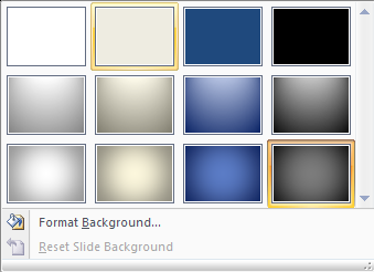 PowerPoint 2007: Slide background