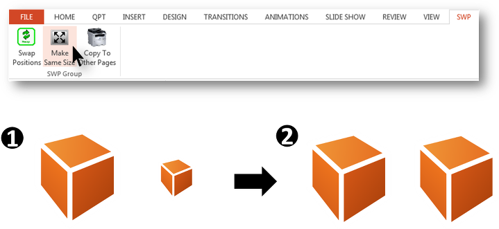 Matching PowerPoint objects' sizes with CAVY add-in