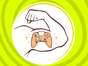 Vector illustration of strong man hand with  icon of joystick on