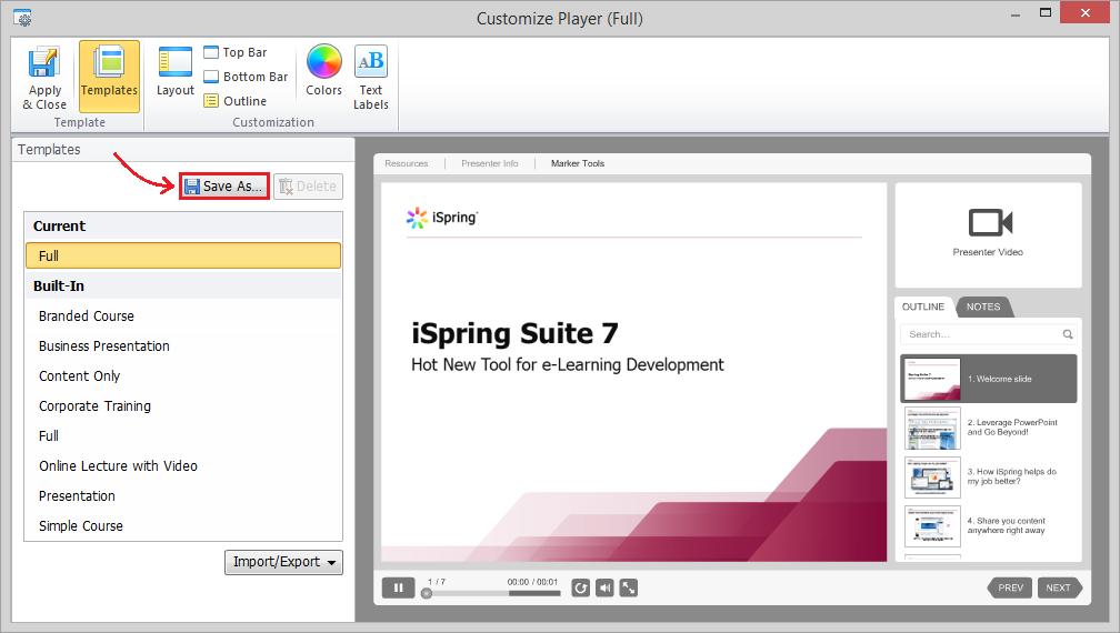 customization of the ispring presentation player, Presentation templates