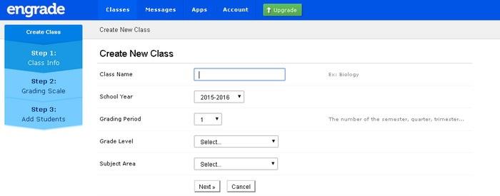 Screenshot of Engrade interface