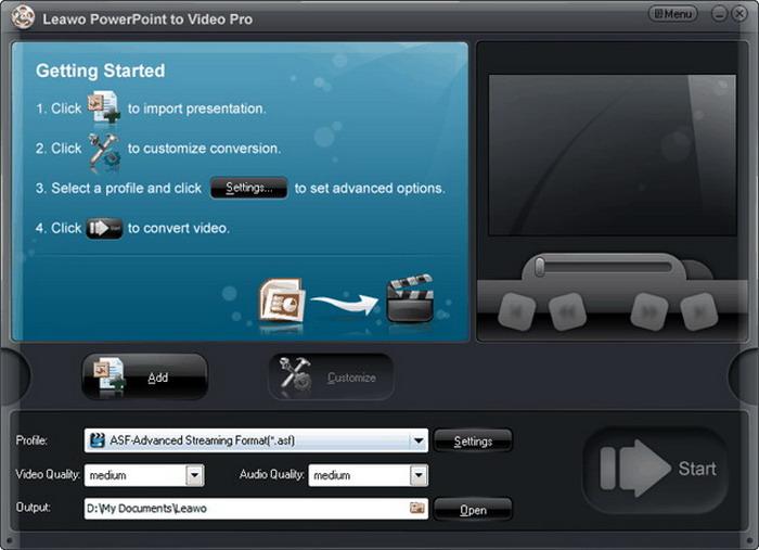 Screenshot of Leawo PowerPoint Converter interface