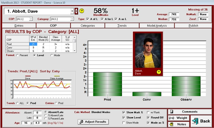 Screenshot of MarkBook interface