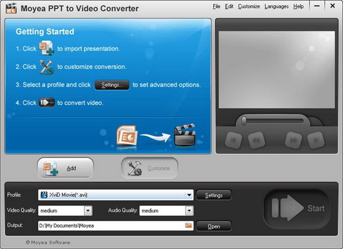 Screenshot of MoyeaSoft PowerPoint to Video Converter interface