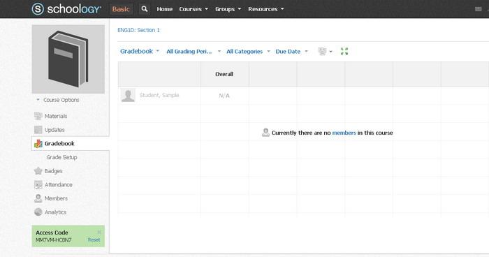 Screenshot of Schoolology interface