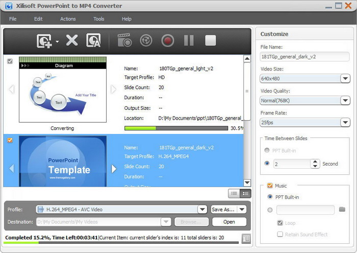 Screenshot of Xilisoft PowerPoint to MP4 Converter interface