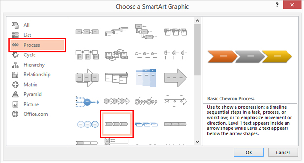 Smart Art Graphics Window For Creating A Timeline.