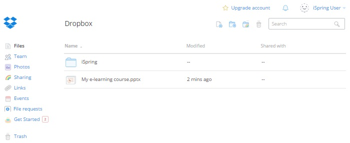 Screenshot of Dropbox interface