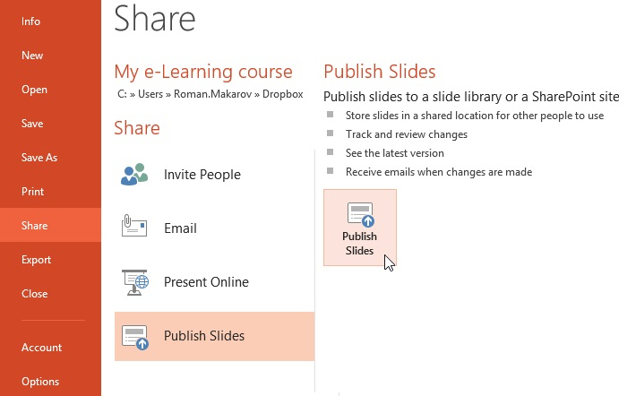 Sharing presentations in PowerPoint 2013