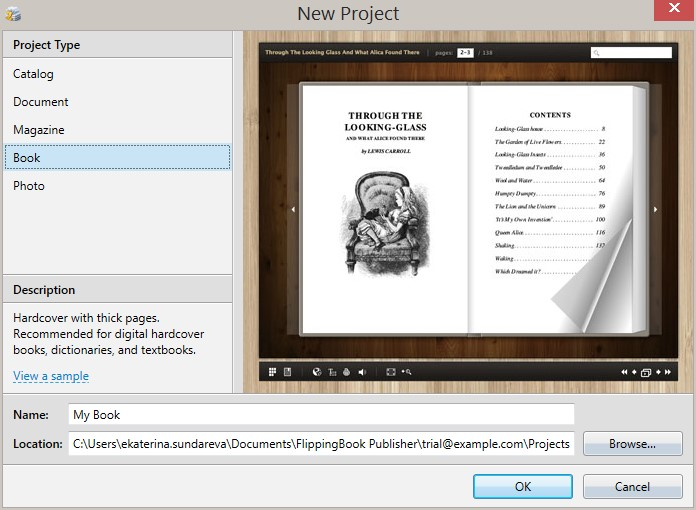 Creating a new project in Flipping Book