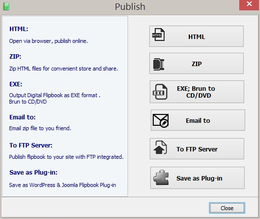 Publishing options in PubHTML5