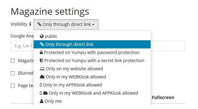Yumpu's permission levels and protection options
