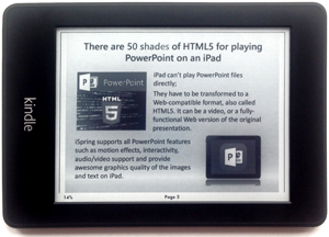 A picture of a Kindle with an opened PPT presentation