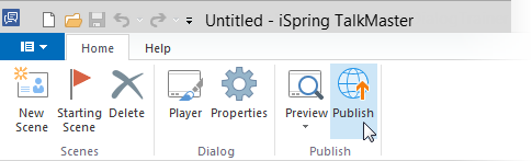 Publish button on the toolbar in iSpring TalkMaster