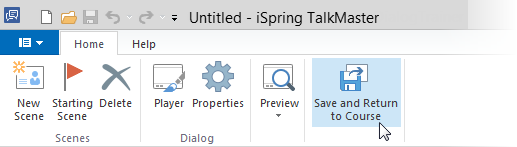 Save and Return to Course button in iSpring Suite