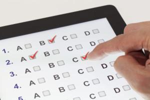The answer form for a multiple choice quiz on an iPad