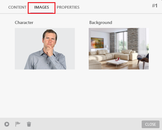 Images tab for new scenes in iSpring TalkMaster