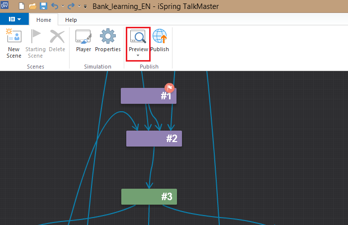 Preview button on the toolbar in iSpring TalkMaster