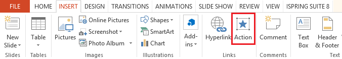Insert Action Button in PowerPoint 2013