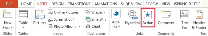 Insert Action Button in PowerPoint 2013