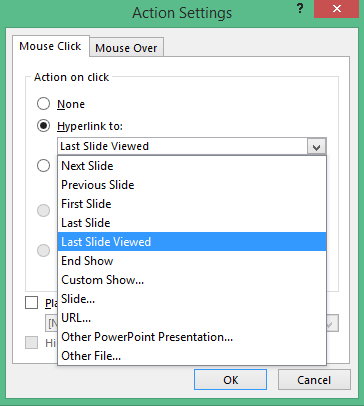 Action Settings window in PowerPoint