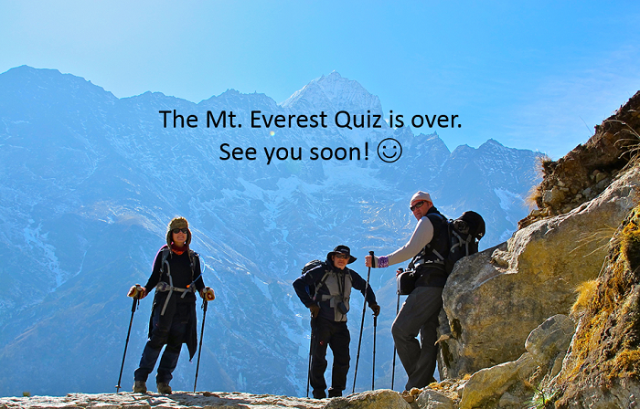End title of the Mt. Everest quiz made in PowerPoint