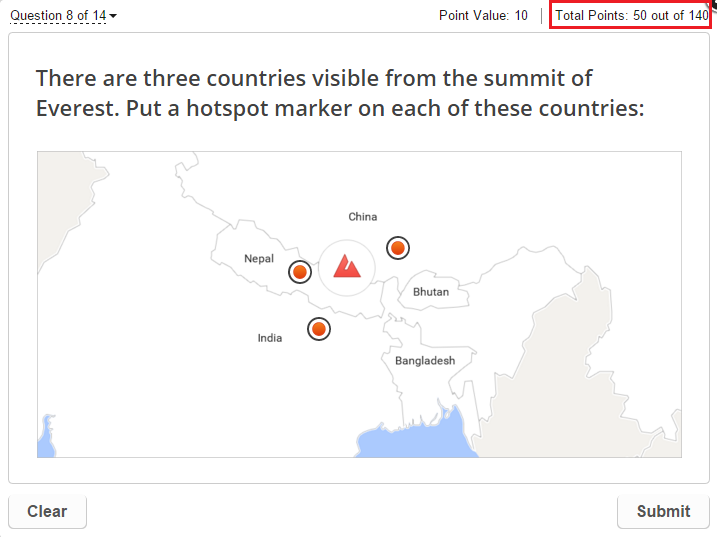 Hot spot question with multiple responses in the Mt. Everest Quiz made in QuizMaker