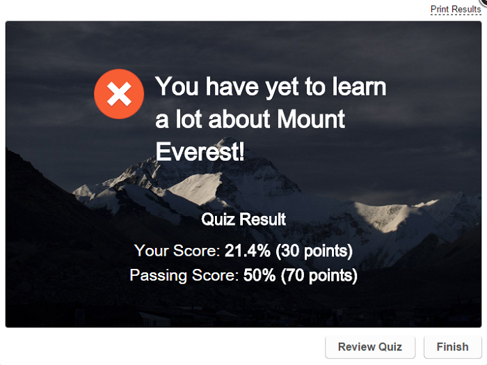 Passing result slide in the Mt. Everest quiz made with iSpring QuizMaker