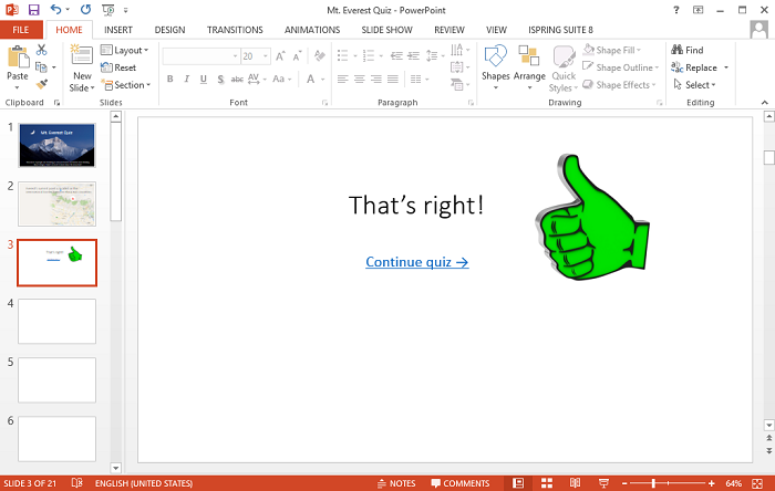 Correct answer slide in PowerPoint