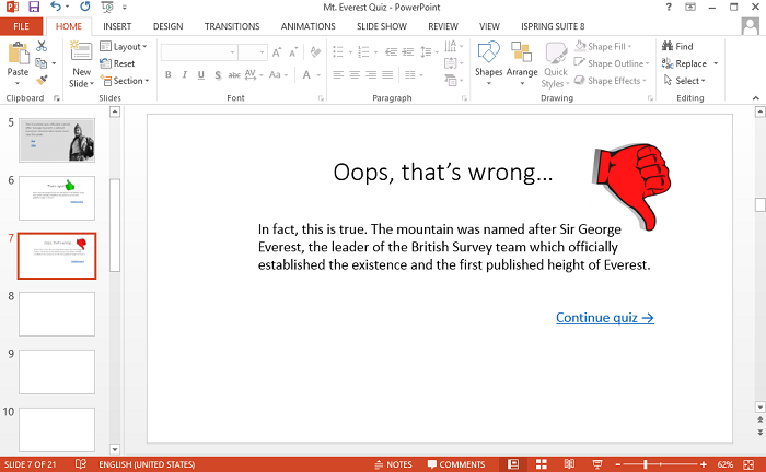 Feedback message on a wrong answer slide in PowerPoint
