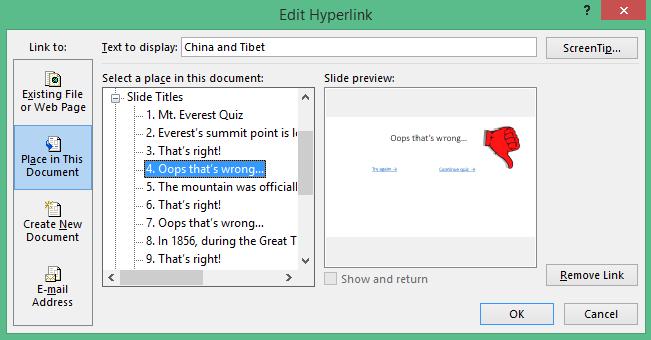 Edit Hyperlink window in PowerPoint