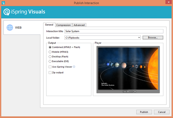 iSpring Visuals Publish Interaction window