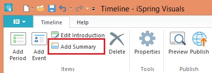 Add Summary button in the timeline maker
