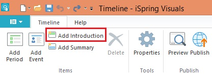 Add an Introduction button in the timeline maker