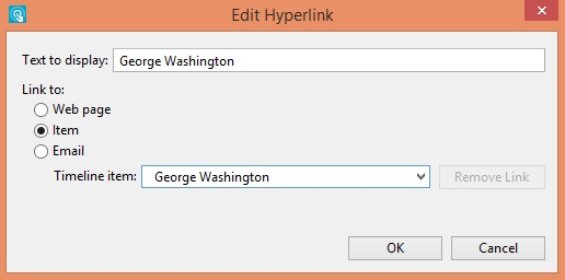 Edit Hyperlink window in the timeline maker