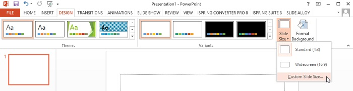 The Slide Size button on the PowerPoint ribbon