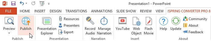 The Publish button on the iSpring Converter Pro ribbon