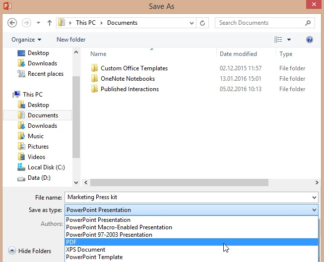Save As window in PowerPoint