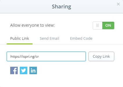 The sharing options in iSpring Cloud