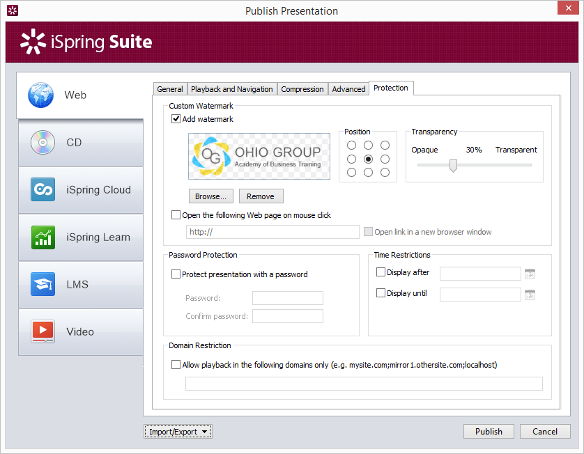 Protection dialog, iSpring Publish window