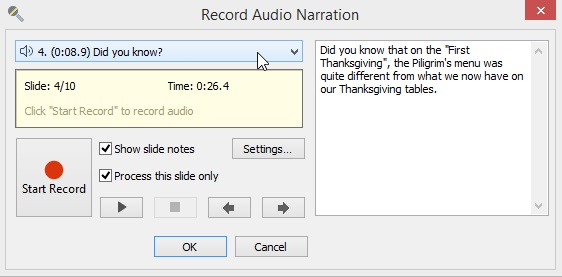Record Audio Narration window in iSpring Suite