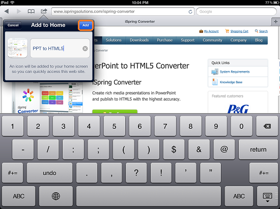 iPad Full Screen Web App: Add webpage to Home screen