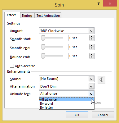 Picture 5: Set text animation in PowerPoint