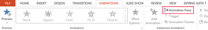 Picture 1: Find Animation Pane in PowerPoint