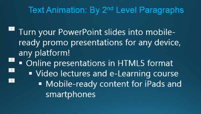 Picture 8: Text animation by second-level paragraphs