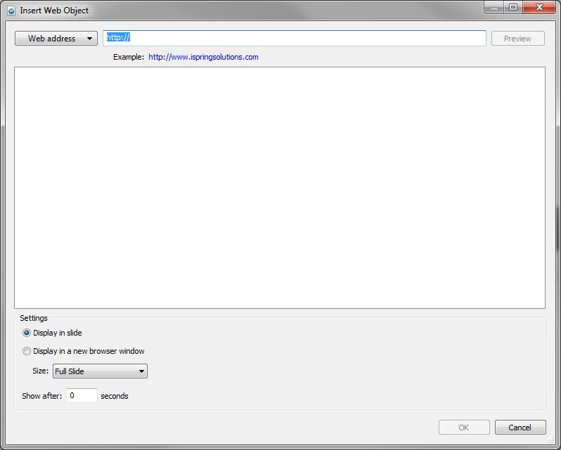 Web Object insert dialog