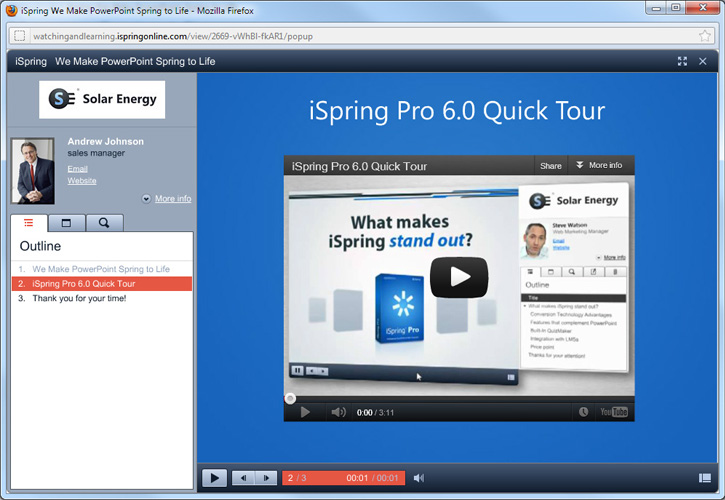 YouTube video in presentation on iSpring Online
