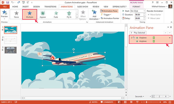 Picture 5: Multiple animation effects on a single object in powerpoint