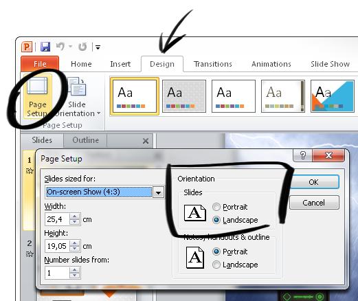 Adjust slide's orientation