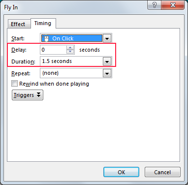 Picture 10: Set animation delay and duration in PowerPoint